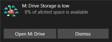 M Drive Toast Notification for low space