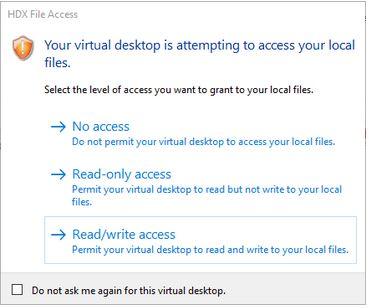 File access dialog